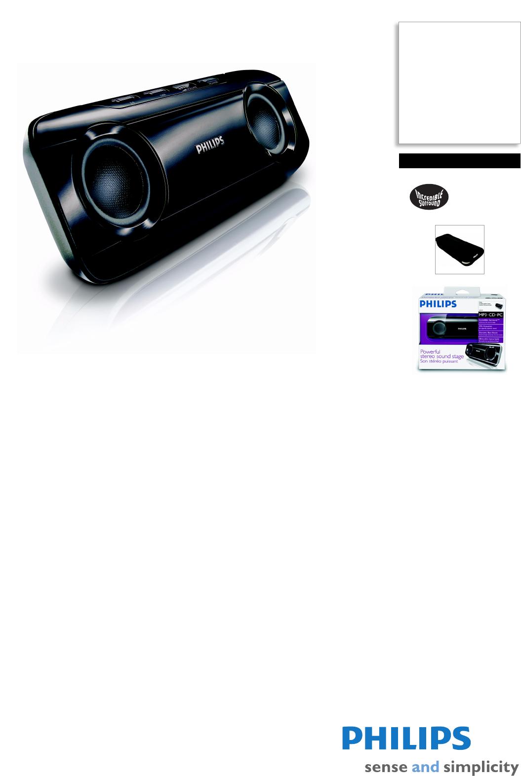 philips portable speaker sba290 user guide manualsonline com rh portablemedia manualsonline com philips dsp2500 5.1 speaker system user manual Philips TV User Manual