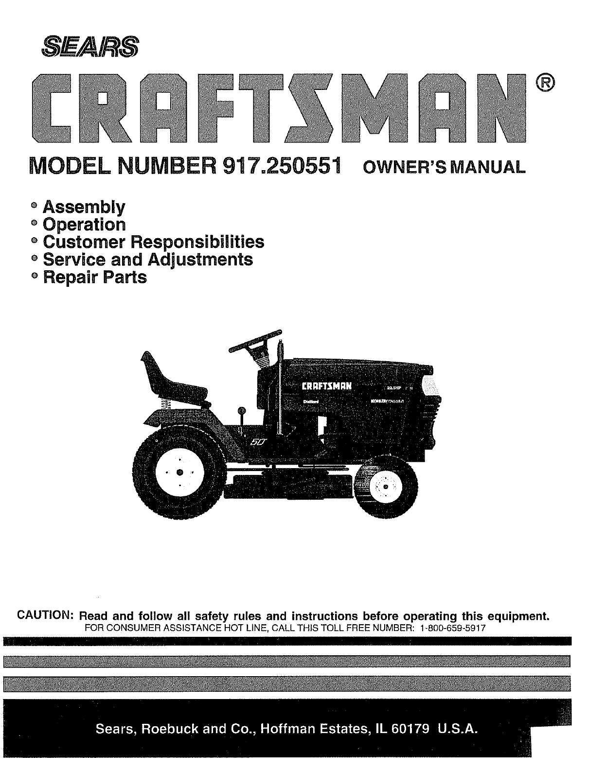 Sears Craftsman Model 917 Mower : Sears lawn mower user guide manualsonline