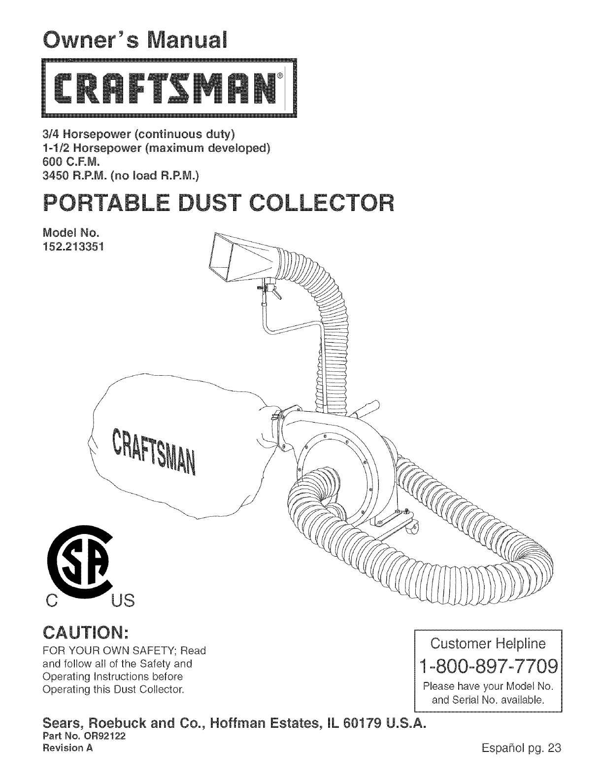 craftsman dust collector 152 213351 user guide manualsonline com rh powertool manualsonline com Dust Collectors for Woodworking Craftsman Radial Arm Saw Dust Collector