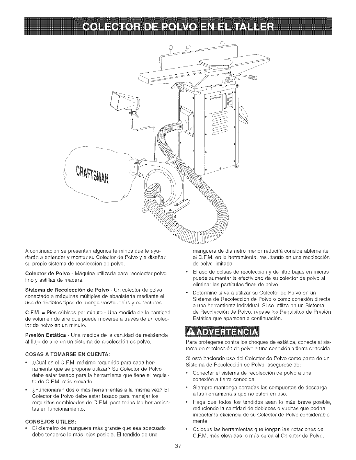 page 37 of craftsman dust collector 152 213351 user guide rh powertool manualsonline com Craftsman 1 HP Dust Collector Craftsman 1 HP Dust Collector