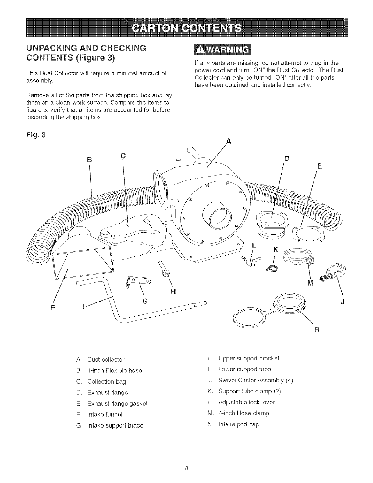page 8 of craftsman dust collector 152 213351 user guide rh powertool manualsonline com Craftsman Dust Collector Parts Craftsman 1 HP Dust Collector