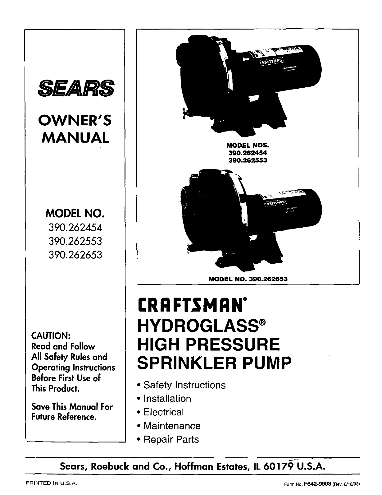craftsman water pump 390 262454 user guide manualsonline com rh homeappliance manualsonline com Sea Water Pump Impeller sears water pump parts