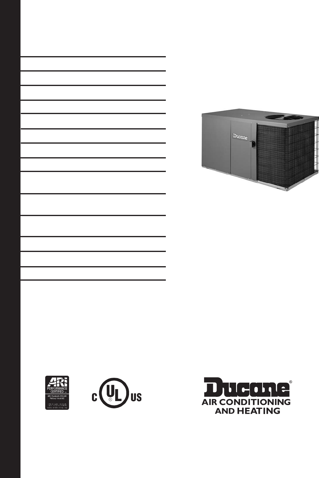 ducane  hvac  heat pump 2sh13b user guide
