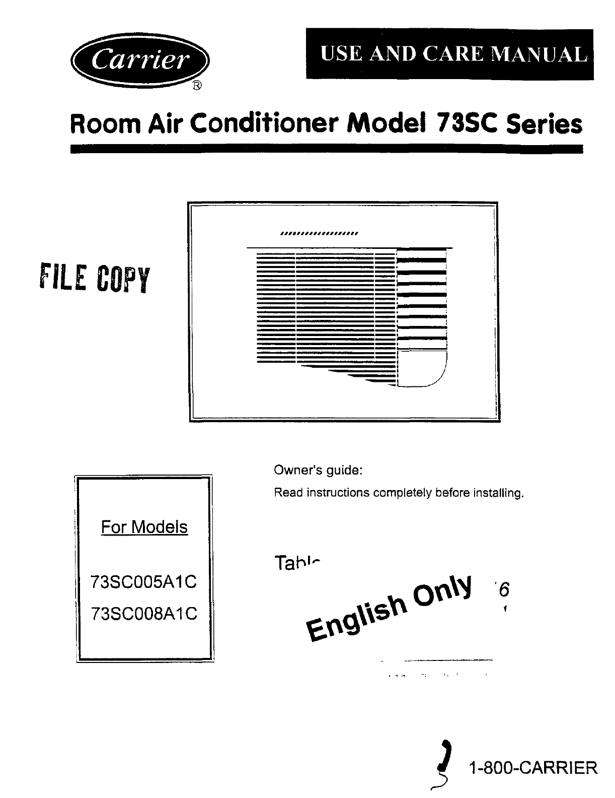 carrier air conditioner 73sc005a1c user guide manualsonline com rh fitness manualsonline com carrier service manuals download carrier user manual air conditioner
