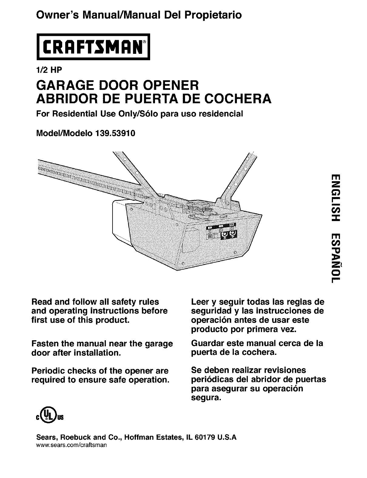 Craftsman Garage Door Opener 139 5391 User Guide