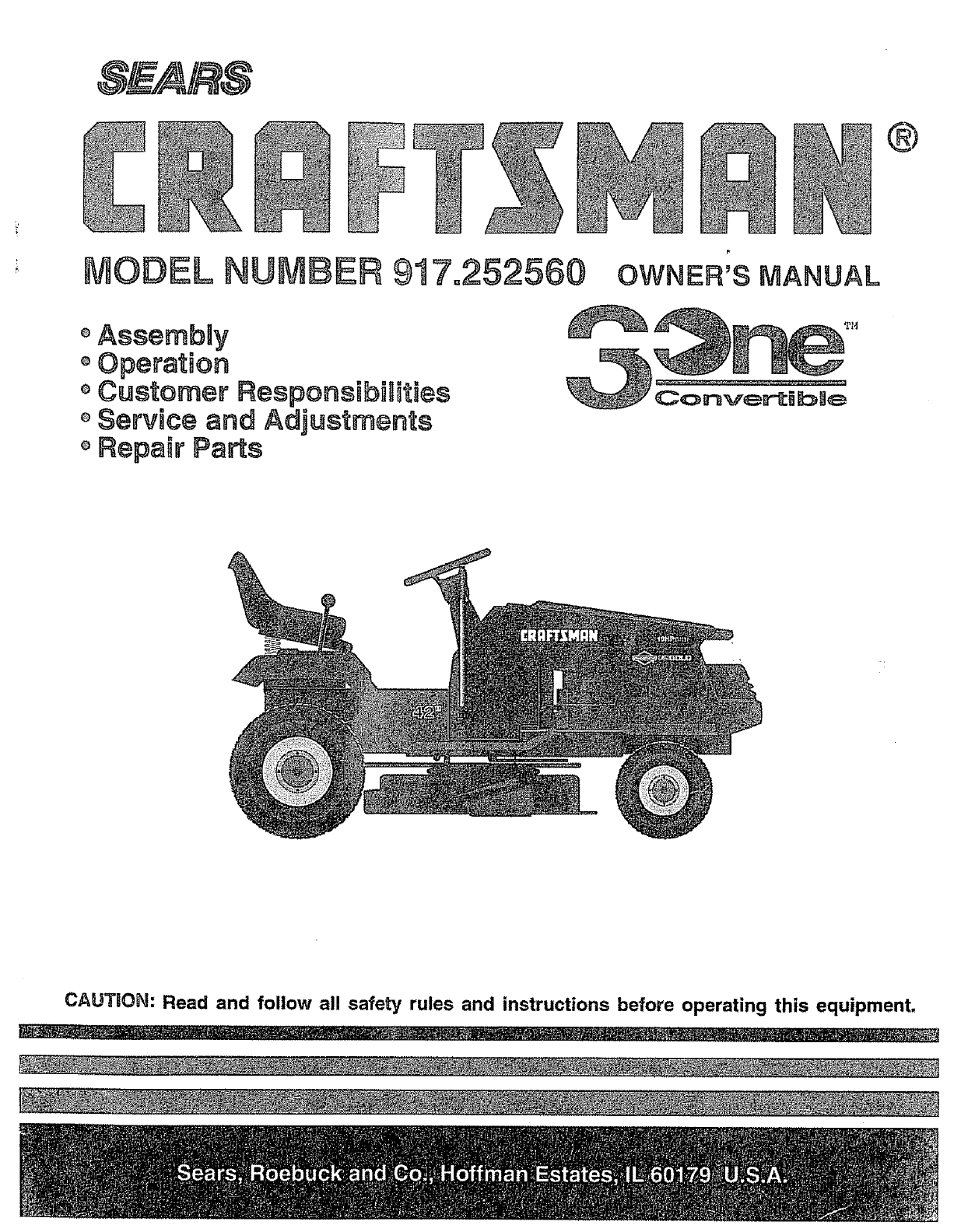 Craftsman Lawn Mower 917 252560 User Guide