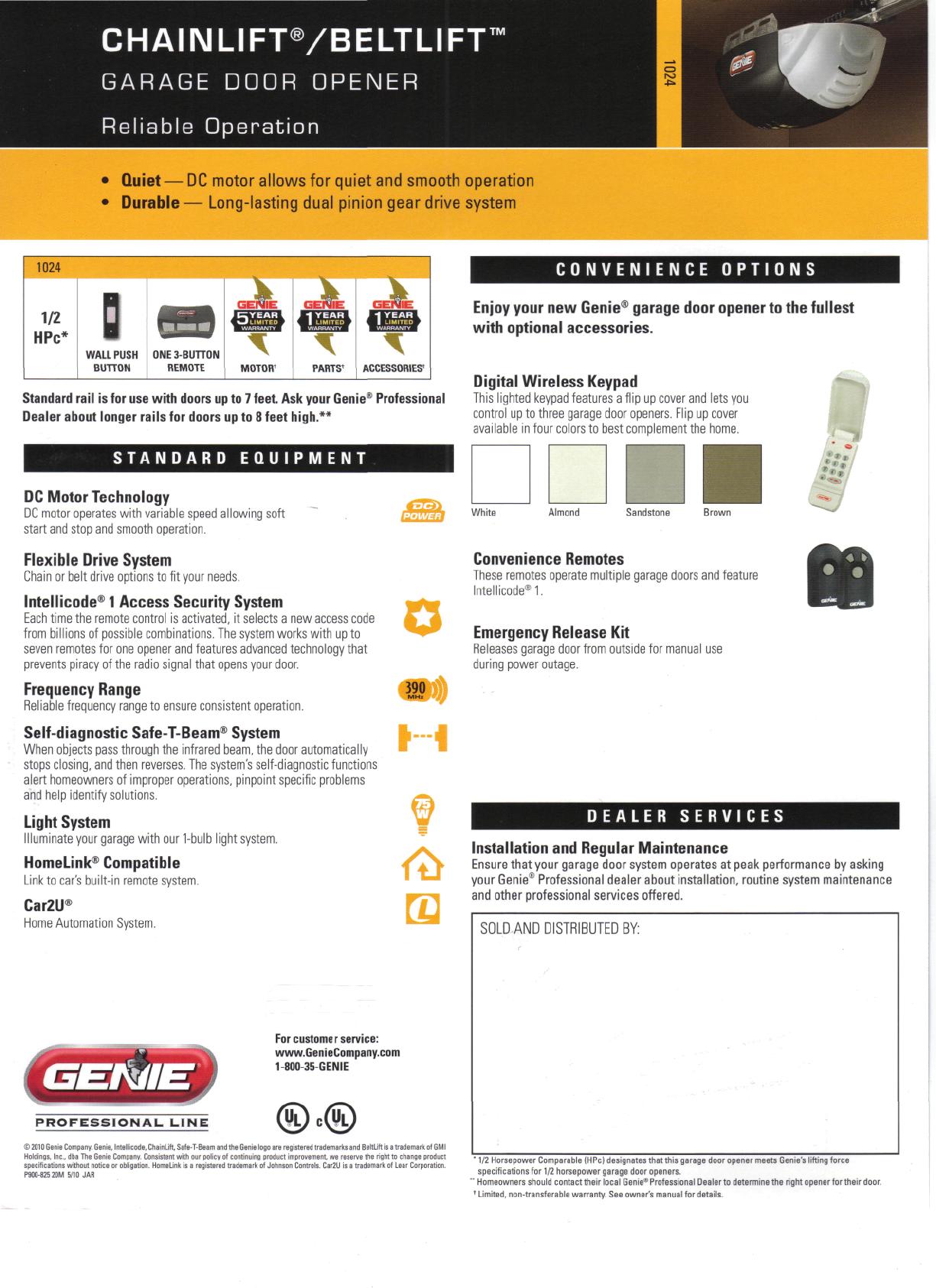 Genie Garage Door Opener 1024 User Guide Manualsonline Com