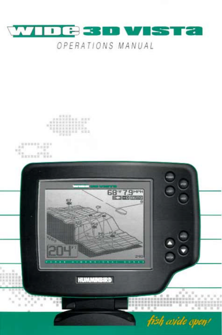 humminbird fish finder wide 3d vista user guide | manualsonline, Fish Finder