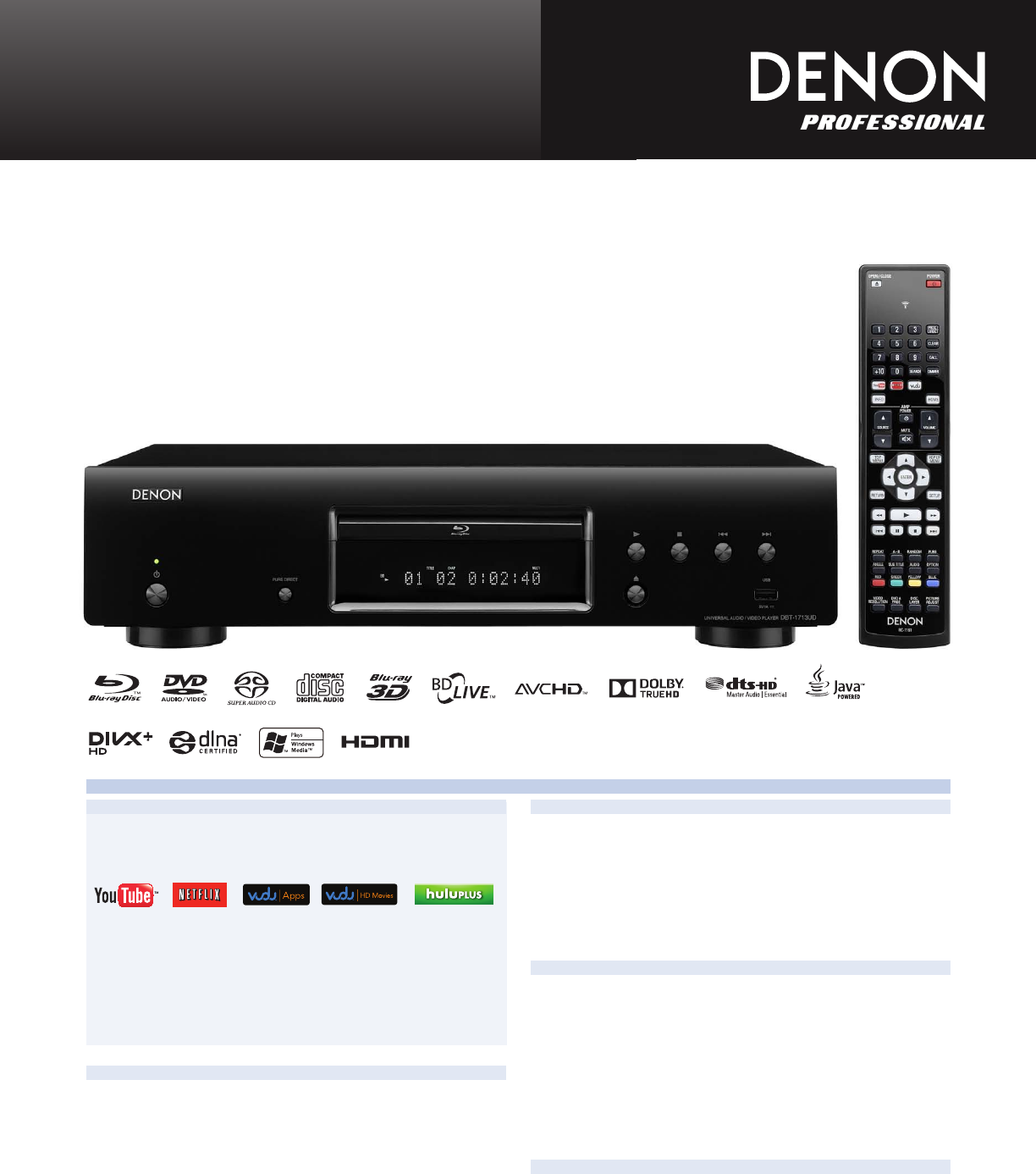 Denon DBT-1713UD DVD Player User Manual