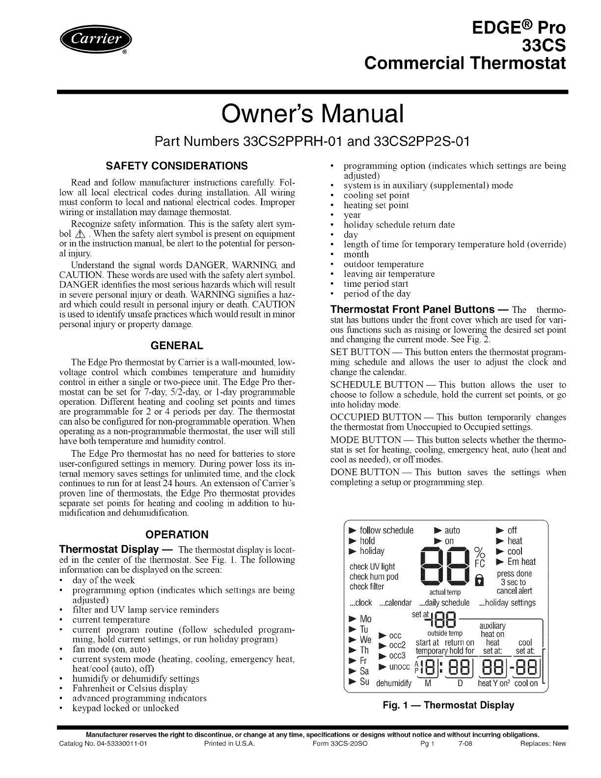 Carrier Thermostat 33cs User Guide Manualsonline