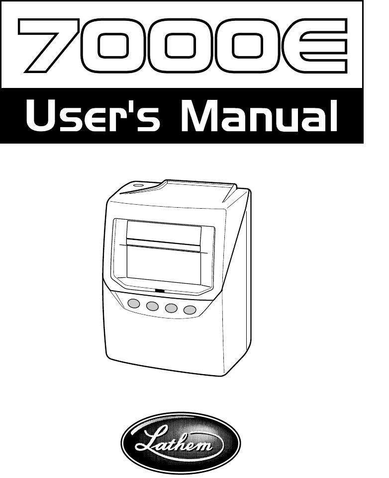 Lathem 7000e totalizer time clock user manual time clock.